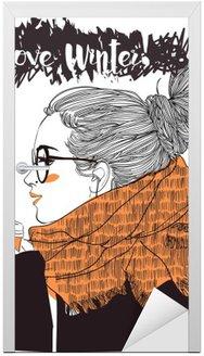 Naklejka na Drzwi Młoda piękna kobieta z filiżanką kawy
