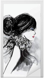 Naklejka na Drzwi Moda modelu kobieta z szalikiem