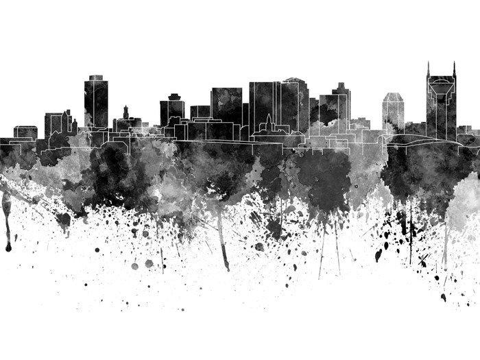 Naklejka na Drzwi Nashville Skyline w czarnej akwarela na białym tle - Krajobrazy