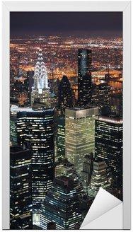 Naklejka na Drzwi New York City Manhattan skyline lotu ptaka o zmierzchu