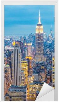 Naklejka na Drzwi New York City Skyline o zmierzchu USA