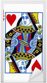 Naklejka na Drzwi Odtwarzanie karty, królową serc