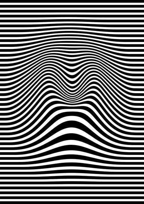 Naklejka na Drzwi Op-art streszczenie ilustracji geometryczny wzór czarno-biały wektor - Zasoby graficzne