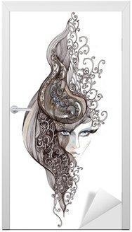 Naklejka na Drzwi Ozdobny włosy kobieta (malarstwo CBM)
