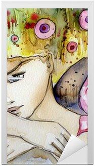 Naklejka na Drzwi Piękna dziewczyna z motylem