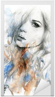 Naklejka na Drzwi Piękna kobieto. Akwarele ilustracji