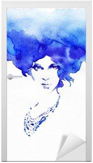Naklejka na Drzwi Piękna kobieto. ręcznie malowane ilustracji mody