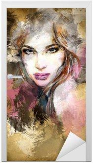 Naklejka na Drzwi Piękna twarz kobiety. Akwarele ilustracji