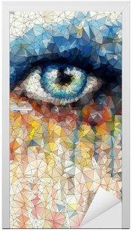 Naklejka na Drzwi Piękne oczy w geometryczne stylizacji abstrakcyjne geometryczne tle