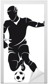 Naklejka na Drzwi Piłka nożna wektorowe (soccer) sylwetka gracza z kulowym odizolowanych