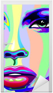 Naklejka na Drzwi Portret dziewczyny psychodeliczny tęczy Viso ragazza psychedelico
