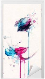 Naklejka na Drzwi Portret kobiety .abstract tle akwarela .fashion