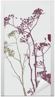 Naklejka na Drzwi Ptak na łące kwiatów
