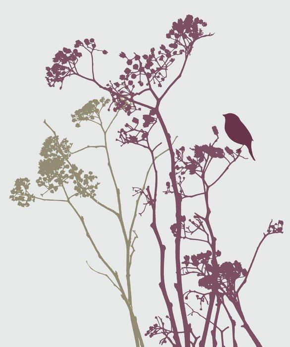 Naklejka na Drzwi Ptak na łące kwiatów - Rośliny i kwiaty