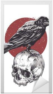 Naklejka na Drzwi Raven na Czaszki