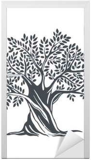 Naklejka na Drzwi Ręcznie rysowane drzewo oliwne. Szkic ilustracji wektorowych