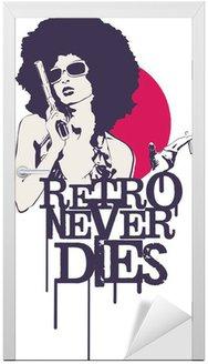 Naklejka na Drzwi Retro nigdy nie umiera