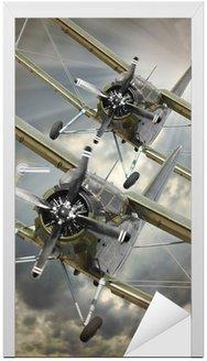 Naklejka na Drzwi Retro styl obraz z biplanes. Temat transportu.