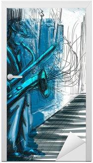 Naklejka na Drzwi Saksofonista (powiększenie rysunek odręczny - oryginalna)