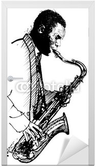 Naklejka na Drzwi Saksofonista rysunek ręcznie na białym tle