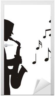 Naklejka na Drzwi Saksofonista rysunek