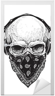 Naklejka na Drzwi Skull ze słuchawkami