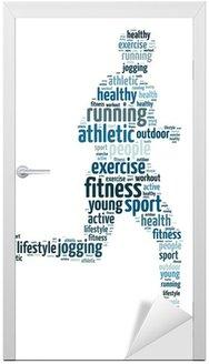 Naklejka na Drzwi Słowa ilustracja człowiek jogging na białym tle