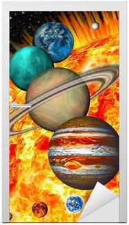 Naklejka na Drzwi Solar System: porównawcza wielkości planet i Słońca.