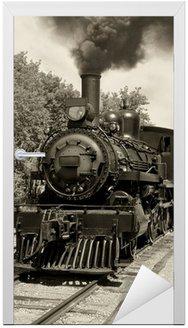 Naklejka na Drzwi Stare lokomotywy sepia