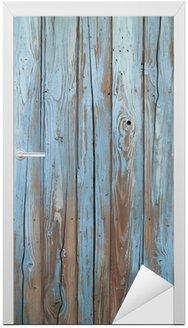 Naklejka na Drzwi Stary niebieski, drewno, ściana