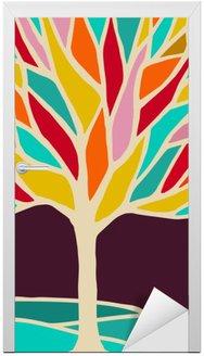 Naklejka na Drzwi Streszczenie ilustracja drzewa z kolorowymi oddziałów