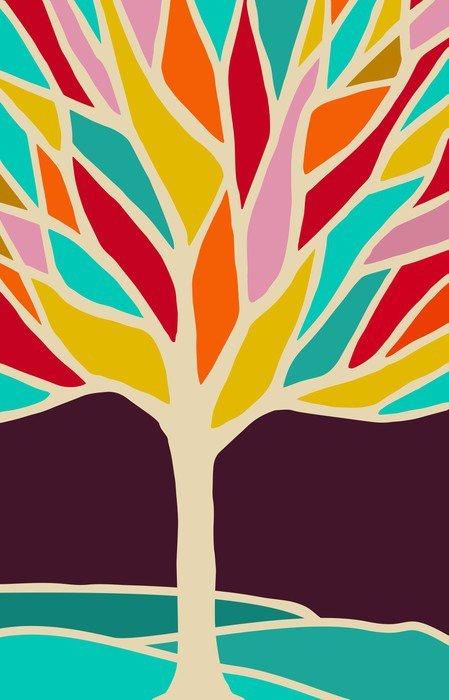 Naklejka na Drzwi Streszczenie ilustracja drzewa z kolorowymi oddziałów - Rośliny i kwiaty