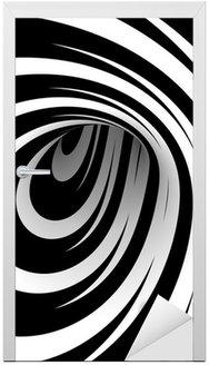 Naklejka na Drzwi Streszczenie spirali w czerni i bieli