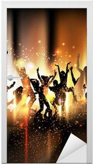 Naklejka na Drzwi Strona dźwięku tła rysunku z tańczących ludzi