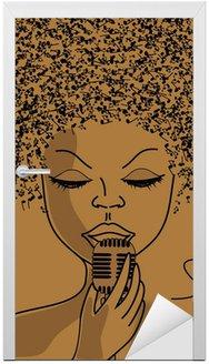 Naklejka na Drzwi Sylwetka Singer z notatkami muzyczne włosy