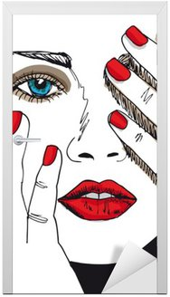 Naklejka na Drzwi Szkic pięknej twarzy kobiety. ilustracji wektorowych
