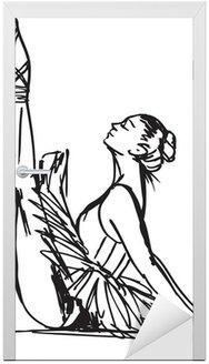 Naklejka na Drzwi Szkic tancerz. ilustracji wektorowych