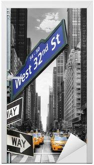 Naklejka na Drzwi Taksówki w Nowym Jorku.