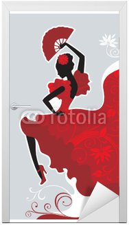 Naklejka na Drzwi Tancerka flamenco