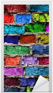 Naklejka na Drzwi Tęcza kolorowe mur z cegły (w tle)