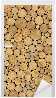 Naklejka na Drzwi Tekstura Dzienniki ułożone, naturalne tło