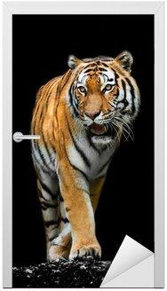 Naklejka na Drzwi Tiger na czarnym tle