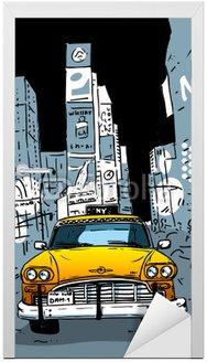 Naklejka na Drzwi Time Square New York City Taxi