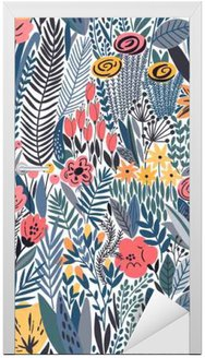 Naklejka na Drzwi Tropical szwu kwiatowy wzór