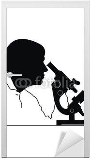 Vector sylwetka głowy mężczyzny i mikroskopu