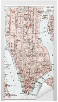 Naklejka na Drzwi Vintage mapa Południowej Manhattan - New York
