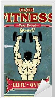 Naklejka na Drzwi Vintage plakat projekt siłownia