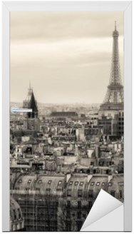 Naklejka na Drzwi Widok na Paryż i Wieżę Eiffla z góry
