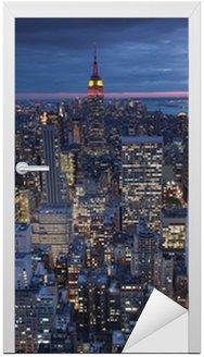 Naklejka na Drzwi Wieczorny widok Nowy Jork, USA