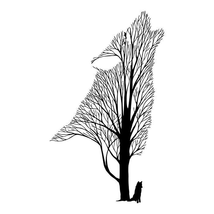 Naklejka na Drzwi Wilk wycie mieszanka drzewa rysunek tatuaż wektor - Zwierzęta